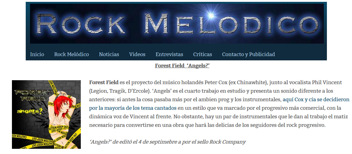 rock melodico review Forest Field