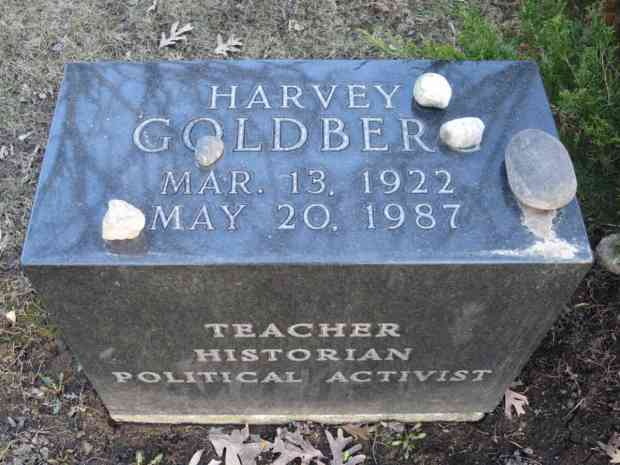 Stones are left at the grave of Harvey Goldberg to pay respect to this teacher, historian, and political activist.