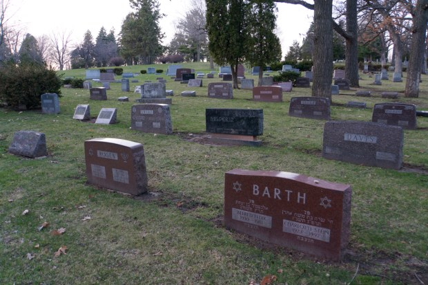 The layout of gravesites in Forest Hill.  Photo by William Cronon.