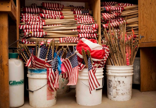 Flags in storage at Forest Hill awaiting Memorial Day. Photo by Brad Baranowski.