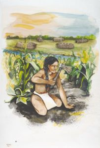 This drawing depicts how life may have looked in the Oneota period (900 - 1650 C.E.). Wisconsin Historical Society Image 33806. Agricultural practices, such as the growing of corn, became more important. The Oneota lived more sedentary lifestyles than the Late Woodland people, and built more permanent dwellings.