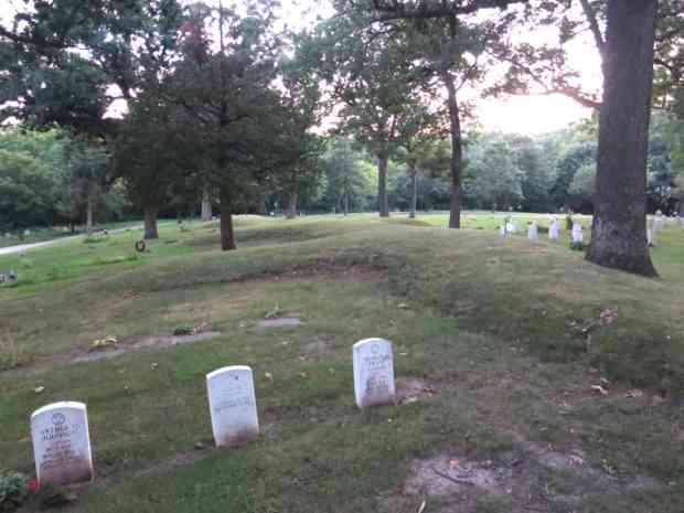 A water spirit mound at Forest Hill Cemetery, surrounded by military graves. Photo by William Cronon.