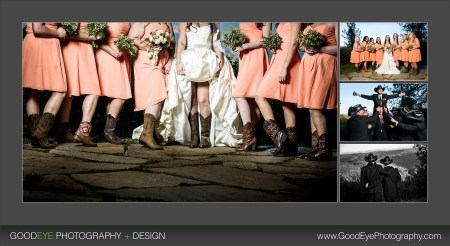 bride and bridesmaid showing cowgirl boots