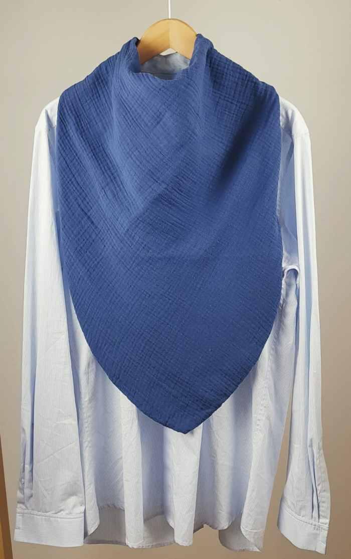 foulard de table bavoir adulte homme Flore coloris bleu indigo
