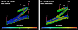 Comparison of cross sections with log-permeability between two representative cases; (a) Case #101 for early BT GPS1, more heteorgeneous permeability distribution, (b) Case #86 for late BT GPS1, more homogeneous permeability distribution; models are vertically exaggerated; water breakthrough study,