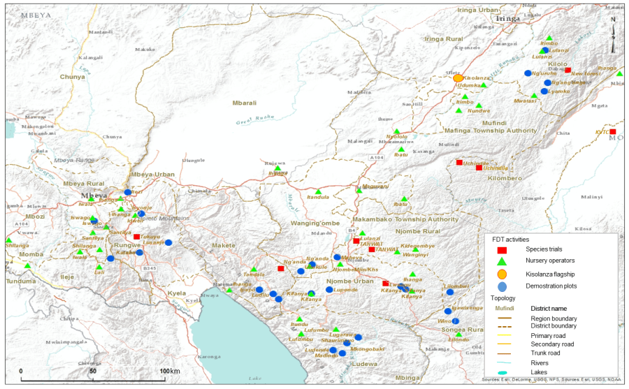 Map showing FDT's activities in the Southern Highlands of Tanzania