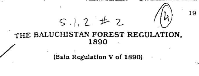 The Balochistan Forest Regulation 1890
