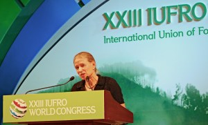 CIFOR Director General Frances Seymour delivering her keynote speech