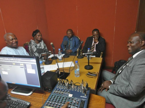 CIFOR Senior Scientist and COBAM Programme Coordinator, Anne-Marie Tiani discussing climate change adaptation and mitigation in the studio of Cameroon Radio and Television (CRTV).