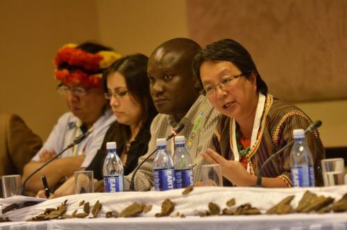 Líderes indígenas debaten sobre los bosques en la quinta edición del Día de los Bosques. Foto de Neil Palmer/CIAT.