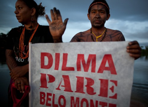The construction of Belo Monte Dam has been the subject of local, national and international protests, especially because of the harm predicted for aquatic ecosystems and local people. Atossa Soltani/Amazon Watch/Spectral Q.