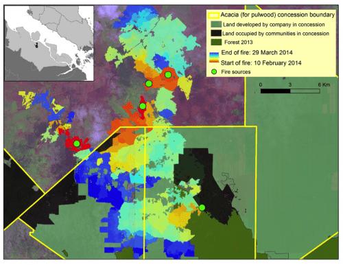 Gambar 2 - Peta menunjukkan perkembangan kebakaran bulan Februari-Maret 2014 di daerah terbakar yang kedua terluas (18.000 ha) di kabupaten Bengkalis, (lihat inset untuk lokasinya), tertumpuk di atas peta tata guna lahan terinci kami di suatu konsesi Acacia (HTI, atau Hutan Tanaman Industri). Peta gabungan tersebut mengilustrasikan bahwa kebakaran dimulai di luar batas konsesi atau di lahan yang dihuni oleh operator (komunitas) berskala kecil dalam konsesi pada awal Februari, dan telah menyebar jauh ke dalam bagian dalam konsesi pada akhir Maret. (Klik pada peta untuk perincian) Foto CIFOR