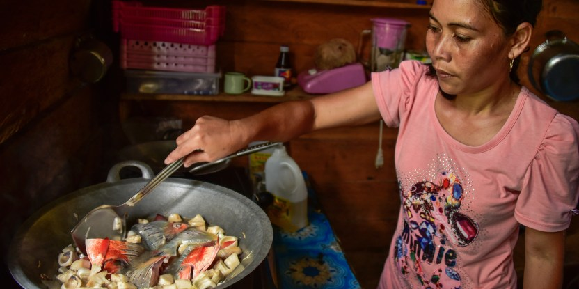 Changing diets in Kapuas Hulu Ibu Rosalina cooking fish with Keluwih.