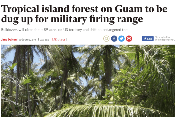 Tropical island forest on Guam to be dug up for US military