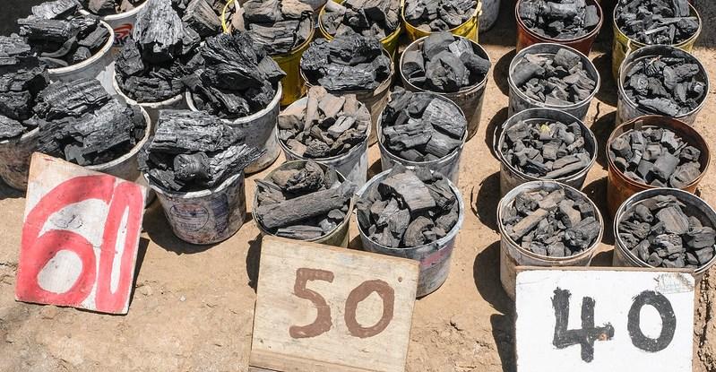Buckets of charcoal