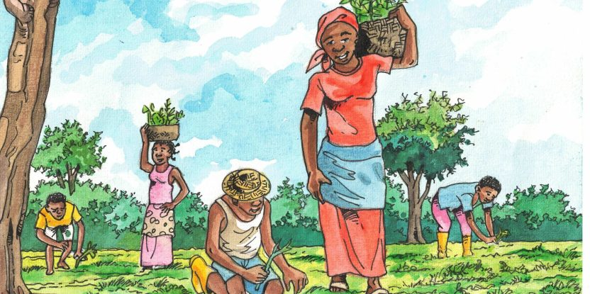 Drawing of women gathering and carrying trees