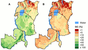 Fig 2. Geographic coverage of the potential natural vegetations. A) The percent area protected of potential natural vegetation types by the protected areas network (GC). B) As A, but only considering the more strictly protected PAs of IUCN class Ib-IV. doi:10.1371/journal.pone.0121444.g002