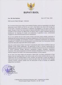 Will the letter from Bupati Rauf convince IFAD to fund Smart Tree-Invest for two more years?