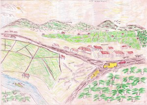 Kalimantan drawing of the future: his child foresees the forests of their area replaced by large-scale development of agriculture and roads. Photo by Center for International Forestry Research (CIFOR).