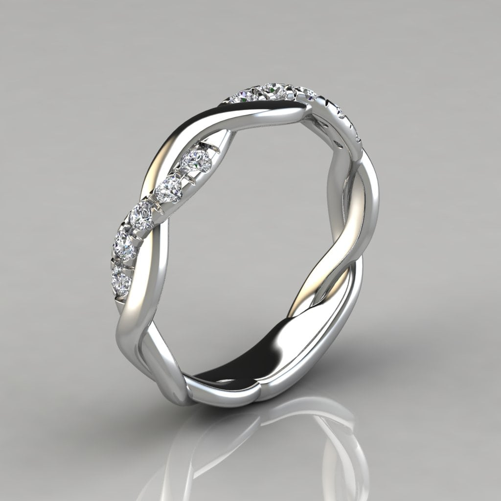 015ct Twist Round Cut Wedding Band Ring  Forever Moissanite
