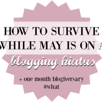 How to Survive While May is on Blogging Hiatus + One Month Blogiversary!!!
