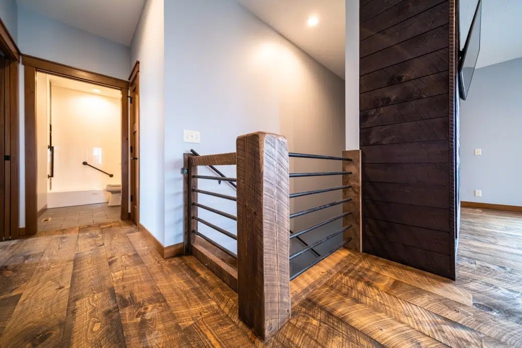 Barnwood Stair Systems In Wisconsin Forever Barnwood   Barn Wood Stair Railing   Industrial   Farmhouse   Wood Plank   Entryway Stair   Upstairs
