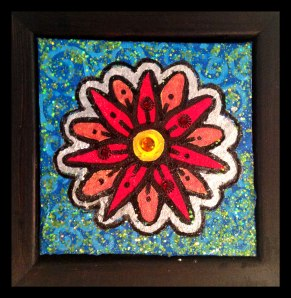 """Tiny Red, 4x4"""", Mixed Media Paint on Canvas Board, $26 - To purchase call Mitra 805-455-6004"""