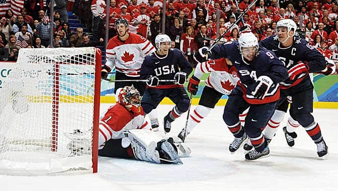 Parise with the tying goal in the 2010 Gold Medal game versus Canada.