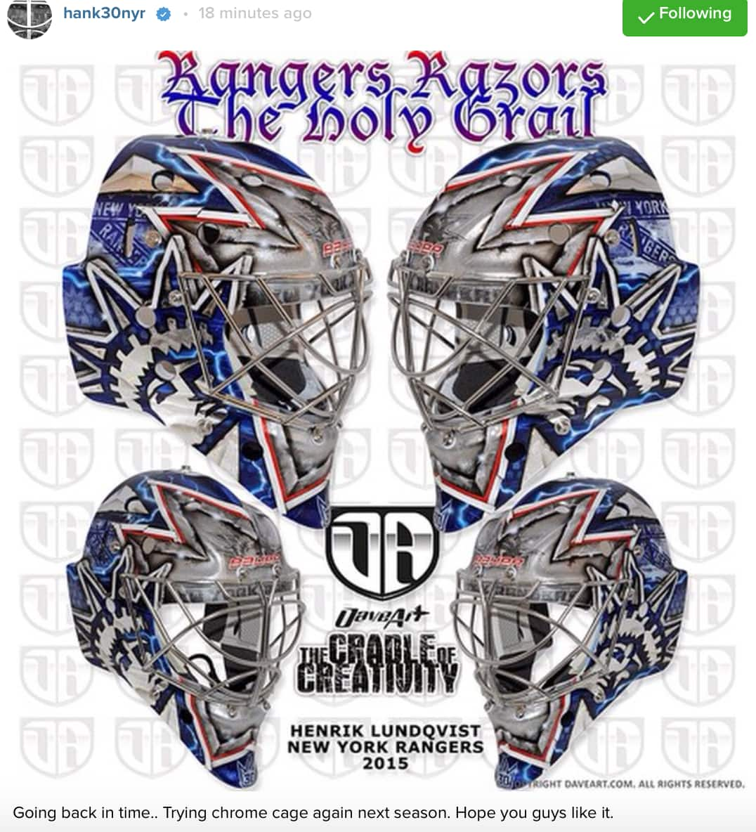 Rangers Roundup Lundqvist S New Mask And More Stoll Reaction