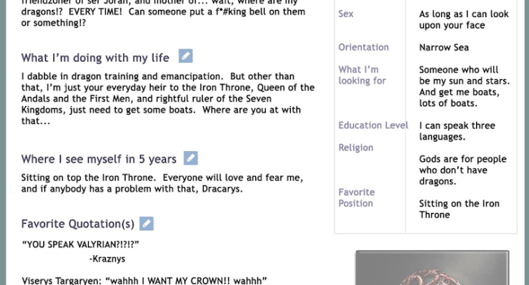 Game of Thrones characters online dating profiles