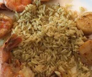 Forever Grateful 613 scallops, steamed lemon/green onions shrimp & cilantro/lime rice