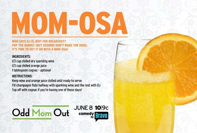 Alcohol beverage recipe for a mimosa with glass filled with a slice of orange on rim.
