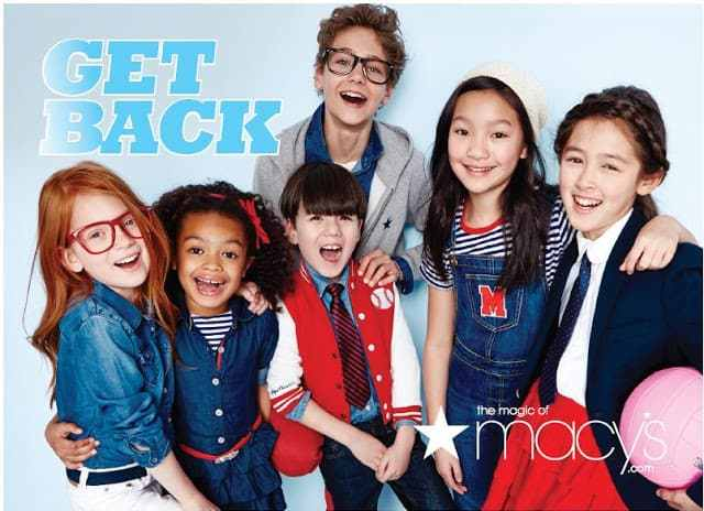 Cute kids on a Macy's Back to School Ad