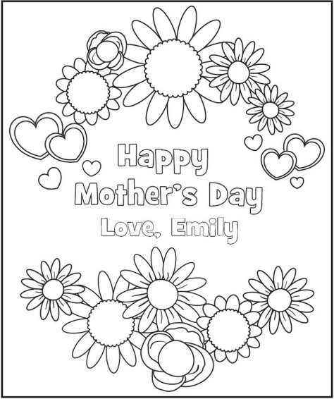 Free Personalized Printable Mother's Day Coloring Page