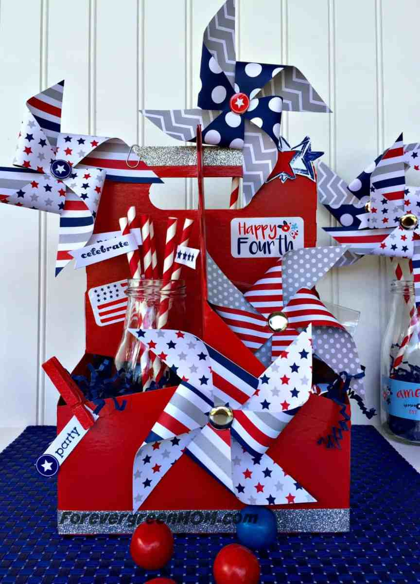 Recycled 4th of July Centerpiece from drink holder