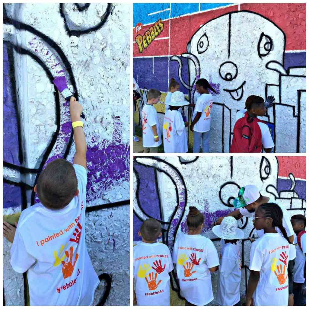 BGCD - Oak Cliff - students painting mural along with Post Pebbles