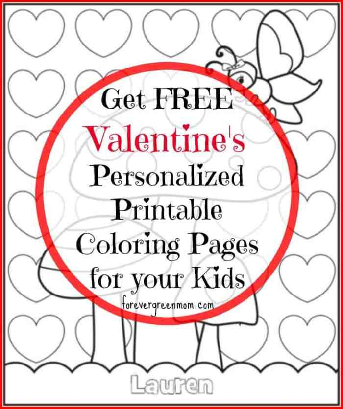 Personalized Printable Coloring Pages for Valentine\'s