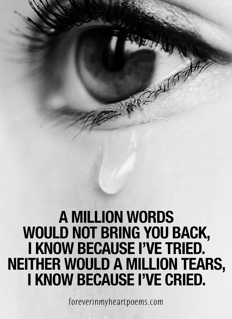 A million words would not bring you back, I know beacuse I have tried. Neither would a million tears, I know because I have cried.