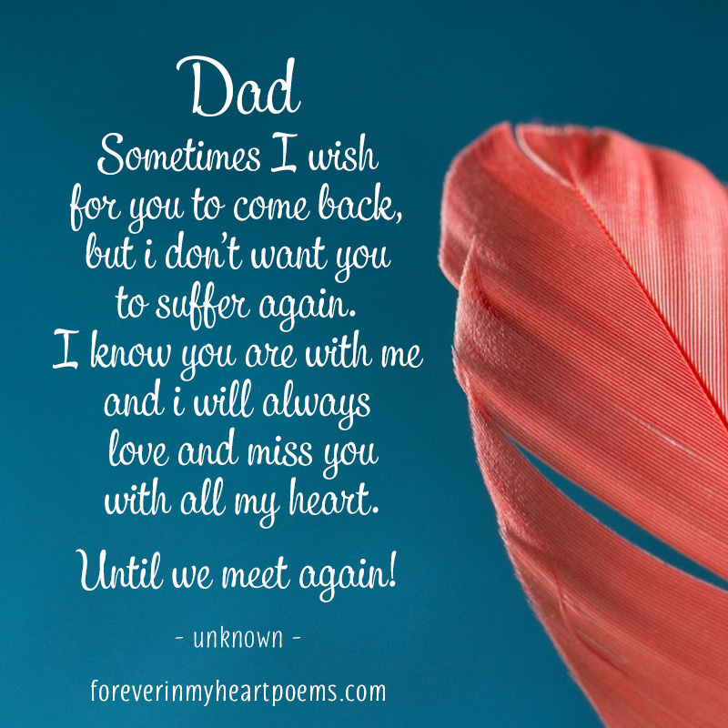 Dad, sometimes I wish for you to come back, but I don't want you to suffer again. I know you are with me and I will always love and miss you with all my heart. Until we meet again!