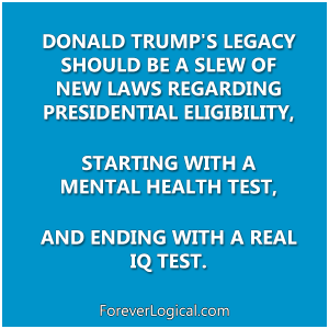 DONALD TRUMP'S LEGACY SHOULD BE A SLEW OF NEW LAWS REGARDING PRESIDENTIAL ELIGIBILITY,