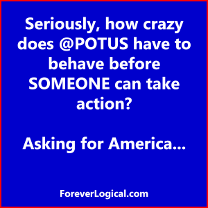Seriously, how crazy does @POTUS have to behave before SOMEONE can take action? Asking for America...
