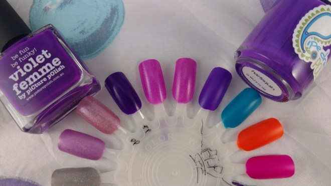 Comparison of Picture Polish Violet Femme and Pipe Dream Polish Harlequin