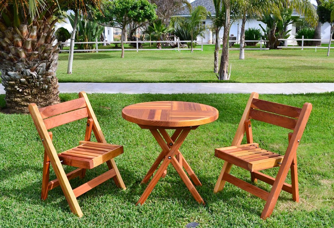 Fold Away Table And Chairs Redwood Folding Table And Chairs Set Custom Wood Furniture