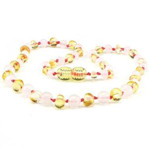 Amber Necklace with rose quartz