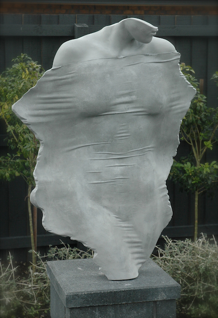 Aluminium through a veil outdoor garden sculpture