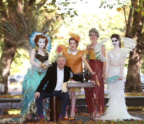 Louis Walsh pictured with students  (Left to right)Sarah Cox, Aideen Rafferty  ,Rebecca Breslin and  Siobhan Buggy when they annouced details  of the Bank of Ireland Junk Kouture Competition '. The students showcased their fabulous junk outfits giving future entrants a taster of what can be achieved and is expected! The fashion competition, now in its sixth year, is open to all secondary school students in both the Republic and Northern Ireland. The challenge includes creating a couture outfit of any shape and size made by the least couture of materials – junk! The students must get their hands on industrial, commercial and domestic waste products and transform them into fashion masterpieces! With some great prizes on offer, the clock is now ticking for students and teachers a like to get creative. Online application will open January 11th and close at midnight January 29th 2016. Picture Brian McEvoy No repro fee for one use