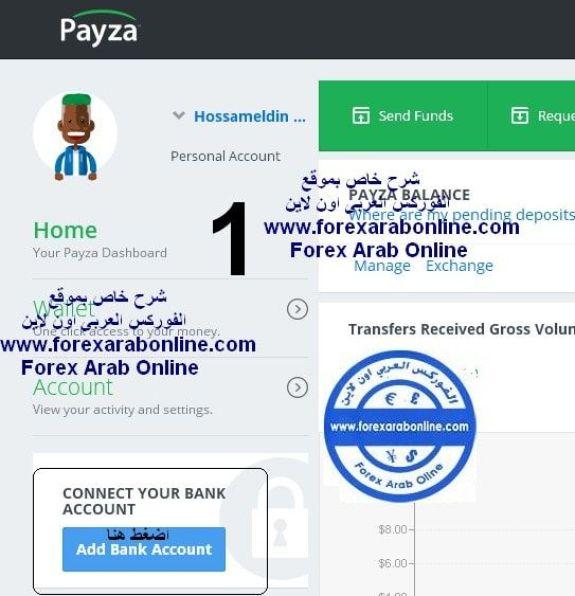 اضافة الحساب البنكى الى payza