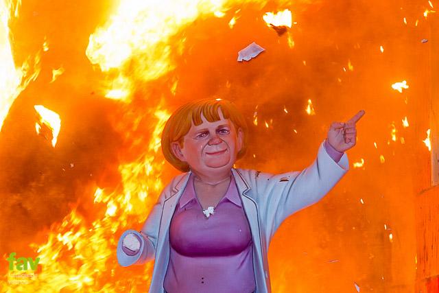 Merkel cremà Fallas Valencia
