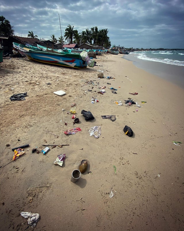 Plastics washed up on the beach in Sri Lanka