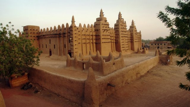 The great Mosque at Djenné in Mali, built out of mud from the Niger River